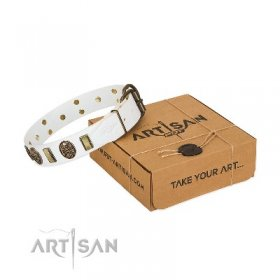 "Artisan White Leather Dog Collar with Skulls ""Mystery of Times"""
