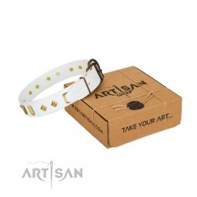 """Hella Cool"" Gracious White Leather Dog Collar With Studs FDT Artisan"