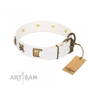 """Glo Up"" Luxurious White Leather Dog Collar With Studs 1.6 In Width FDT Artisan"