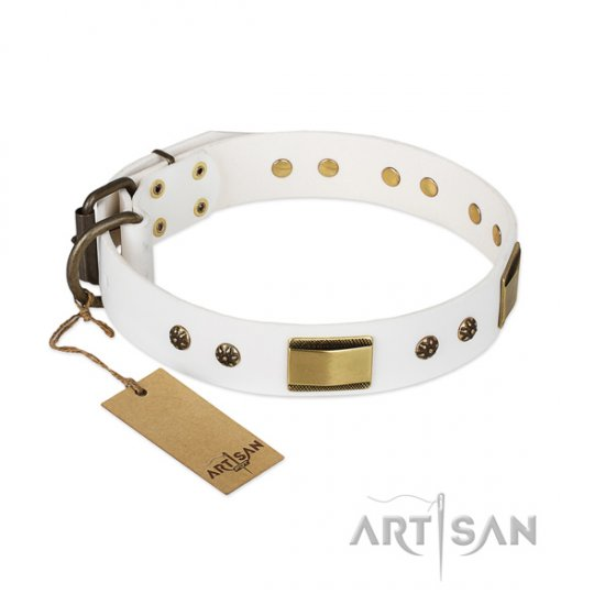 """Precious Necklace"" Dog Collar of White Leather by FDT Artisan"