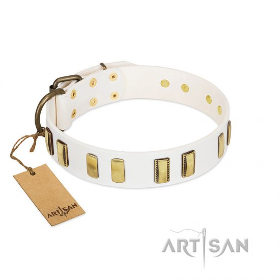 White Studded Leather Dog Collar by FDT Artisan