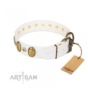 """Pearly Grace"" Strong White Leather Dog Collar With Studs FDT Artisan"