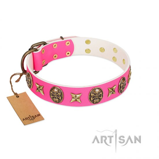 Durable Pink Leather Dog Collar FDT Artisan