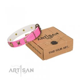 """Wild And Free"" Luxury Pink Leather Dog Collar With Golden-Like Adornment FDT Artisan"