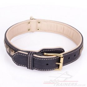 """Pyramid"" Adorable Black Leather Collar For Dog With Adornment"