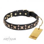 Excellent Black Leather Dog Collar With Studs FDT Artisan For Daily Walks