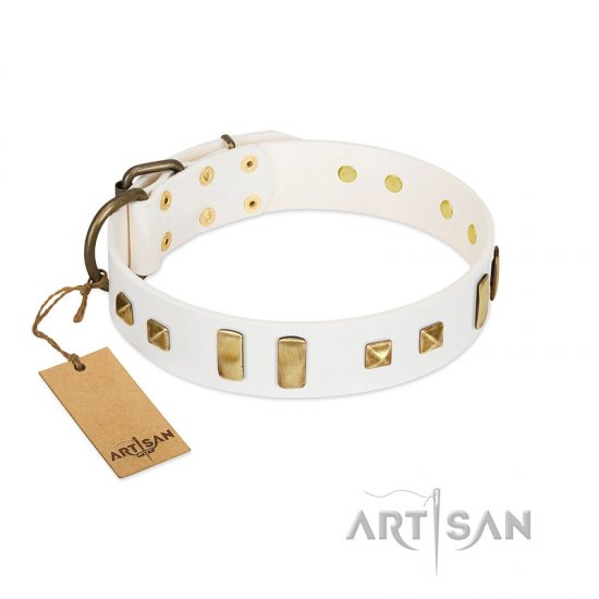 White Leather Dog Collar with Studs