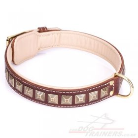 """Pyramid"" Handmade Brown Leather Dog Collar Adorned With Brass Studs"