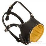 Adjustable Leather Dog Muzzle Padded with Nappa