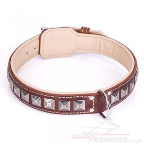 """Pyramid"" Top-Quality Brown Leather Dog Collar With Decorations"