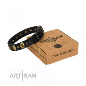 """Gilded Stones"" Functional Black Real Leather Dog Collar FDT Artisan"