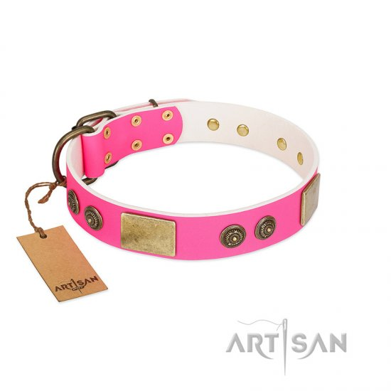 Durable Pink Leather Dog Collar