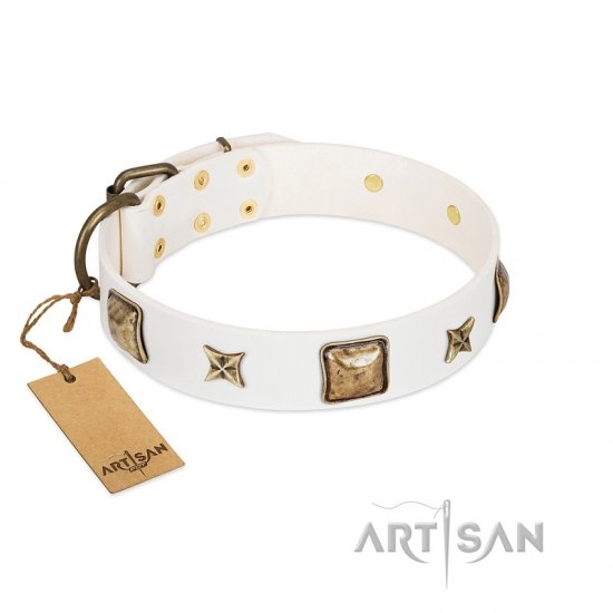White Dog Collar with Squares and Stars