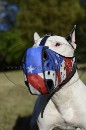 "Leather Dog Muzzles for Sale for K-9 Dogs ""American Pride"""