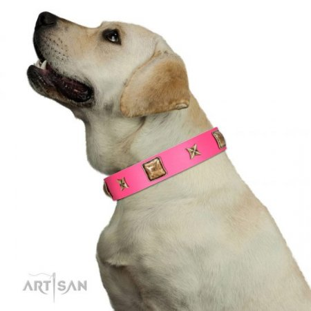 """Charm And Magic"" Glamorous Pink Leather Collar For Dogs FDT Artisan"