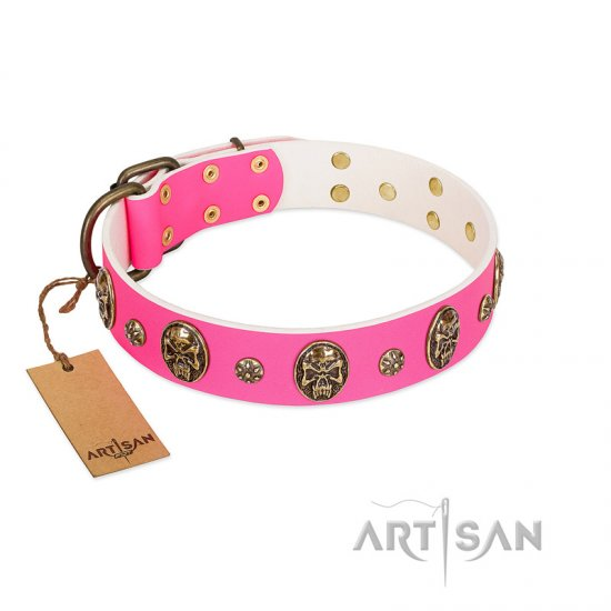 """Fashion Show"" Luxury Pink Leather Dog Collar With Decorations FDT Artisan"