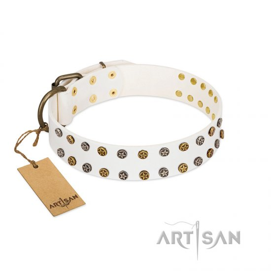 White Leather Dog Collar FDT Artisan