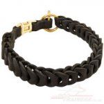 Choke Dog Collar - Springy Leather Chain NEW!
