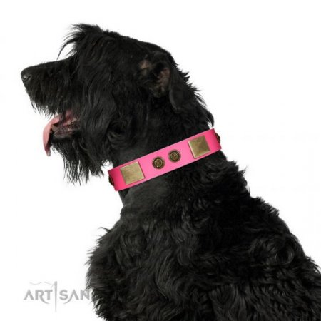 """Queen's Whim"" FDT Artisan Glamorous Pink Soft Leather Dog Collar with Adornment"