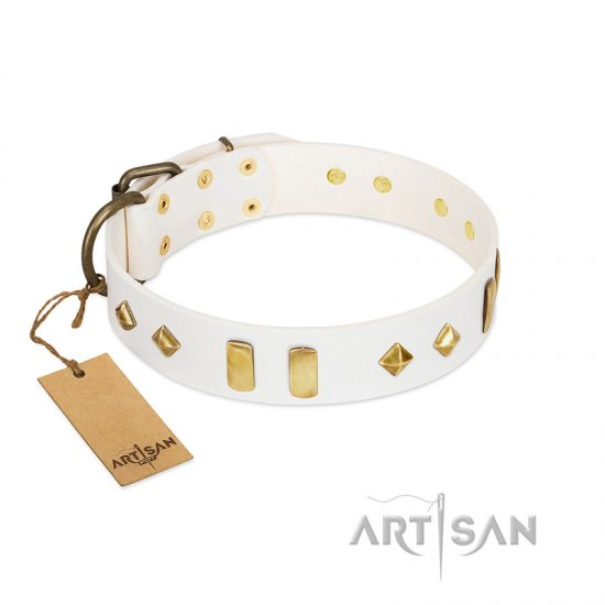 White Leather Dog Collar with Studs and Plates
