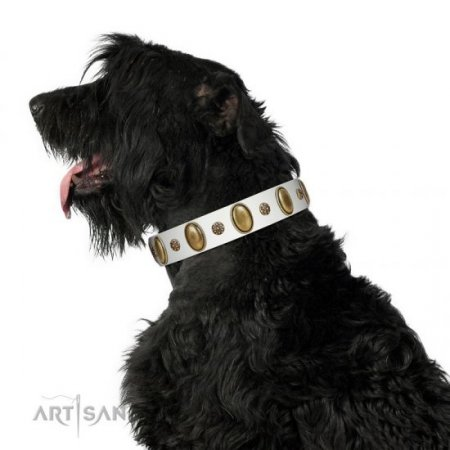 """Nifty Doodad"" Matchless White Studded Dog Collar FDT Artisan"