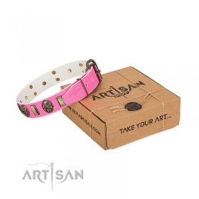 "Pink Leather Dog Collar for Modern Girls ""Perilous Beauty"""