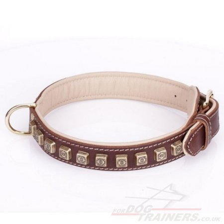 """Cube"" Tough Brown Leather Dog Collars UK With Decorations"