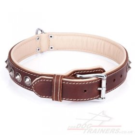 """Cone"" Fabulous Brown Leather Dog Collar UK With Shiny Decorations"