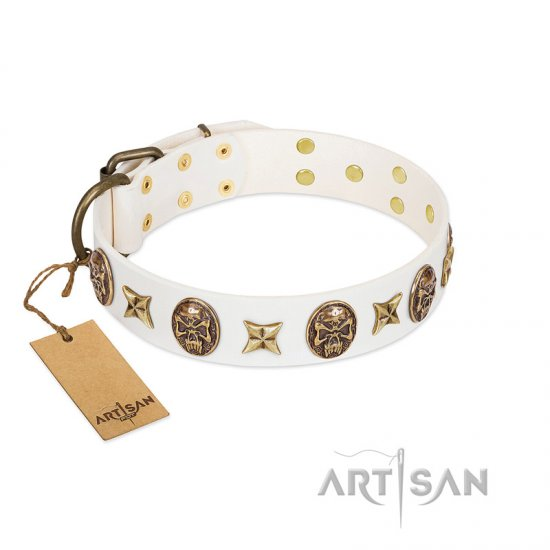 White Leather Dog Collar With Studs FDT Artisan
