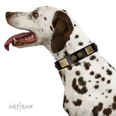"""Chicci-Glam"" FDT Artisan Soft Black Leather Dog Collar With Studs"