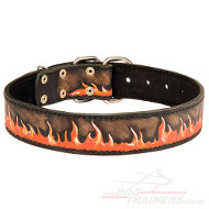 "Bright Dog Collar Leather NEW ""Flame"" Painted by Hands"