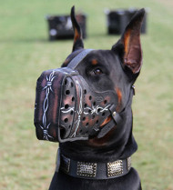 Doberman Muzzle Hand Painted Leather | Agitation Dog Muzzle UK