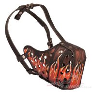 "Handcrafted leather dog muzzle ""Flame"""