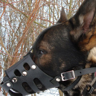 "Leather Dog Muzzle UK ""Everyday"" style for German Shepherd"