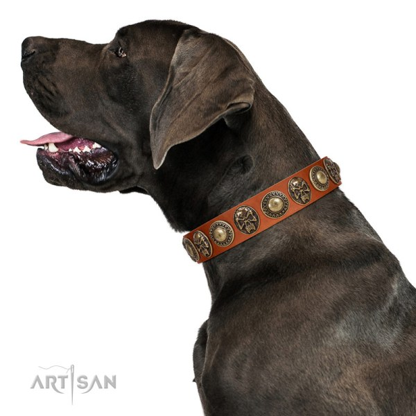 Artisan light tan leather dog collar for Great Dane