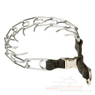 Prong Collar Steel Links & Strong Leather Band