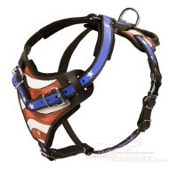 "Large Dog Harness | Leather Dog Harness ""American Pride"""