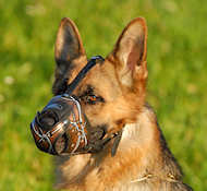 Leather Dog Muzzle for German Shepherd Wire-Painted | GSD Muzzle