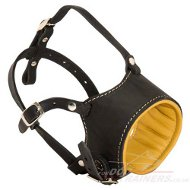 Nappa padded leather Muzzle for dog