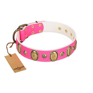 """Roseate Dawn"" Pretty Pink Leather Dog Collar With Adornment FDT Artisan"