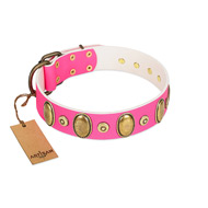 """Drawing Power"" Fabulous Pink Leather Collar For Dogs FDT Artisan"