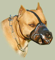 "Pit Bull Muzzle for Dogs | Dog Leather Muzzle UK ""Barbed Wire"""