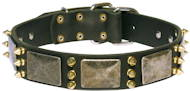 Exclusive Leather Dog Collar with plates and spikes C87