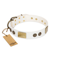 """White Melody"" FDT Artisan White Studded Leather Dog Collar"