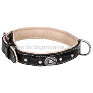 Leather Collar with Chrome Plated Vintage Medals and Hardware