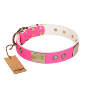 FDT Artisan Pink Leather Dog Collar with Flowers and Plates