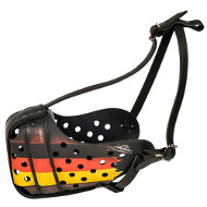 Exclusive Handmade Leather Dog Muzzle Painted in German Style