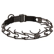 Black Steel Pinch Dog Collar with Clip by Herm Sprenger, 3.2 mm