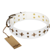 "Marvellous Dog Collar of White Leather ""Bright Stars""FDT Artisan"