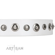 New White Leather Dog Collars Handmade Collection Artisan